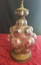 VERY RARE Vintage Glass Bubbles Wire Wrapped Cage Murano Style Table Lamp