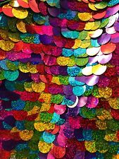 20mm Multicolored Dangled Sequins Fabric Sold by yard -Front Multi; Back Silver