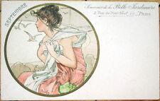 Mucha Alphonse 1900 Artist-Signed Art Nouveau Postcard: Septembre/September