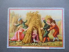 ANTIQUE  New Year Card Marcus Ward Children Playing Harvest Victorian Chromo