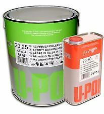 U-pol 2K High Build GREY 5Ltr Car Primer S2025 4L+1Ltr FAST Hardener/Activator