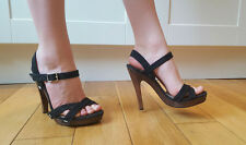 Jimmy Choo strappy black canvas platform sandals wooden heels shoes 38