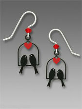 Sienna Sky Two BIRDS ON SWING with Red Heart EARRINGS Sterling Silver Dangle