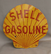 "24""  SHELL GASOLINE Clamshell Diecut Porcelain Sign  gas oil"