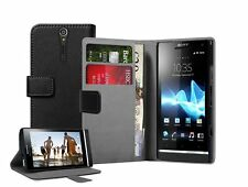 Black Wallet Leather Flip Case for Sony Xperia S LT26i - Cover Holster Pouch