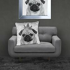 Brand New Stunning Crushed Velvet Bling PUG 55x55cm Filled Cushion