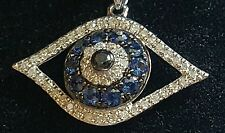 "Beautiful EFFY 14K White Gold Black Diamond Sapphires Pendant Necklace 18"" NEW"