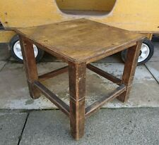 Vintage Rustic Old Wooden stool Seat Chair Rare Original Kitchen square display