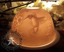Porzellan Windlicht Lithophanie Kolibris Blüten RankenTeelichthalter Weiß Vogel