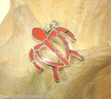 24mm Hawaiian STER Silver OW Petroglyph Turtle Natural Red Sponge Coral Pendant