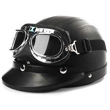 Black Motorcycle Cruiser Leather Half-Open Face Helmet With Sun Visor & Goggles