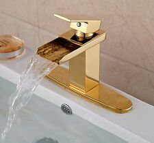 "Luxury Gold Brass Waterfall Spout Bathroom Basin Sink Faucet W/ 10"" Cover Plate"