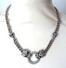 Butler and Wilson Clear Crystal Leopard Head Ring SILVER Tone Necklace NEW