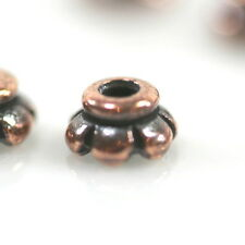 TierraCast Bead Caps, Scalloped Bead Caps, Tiny 4mm, Copper Plated, 50 Pieces