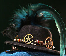 Halloween Costume Hair Clip ~ Pearly Gears of Resistance ~ Steampunk Mini TopHat