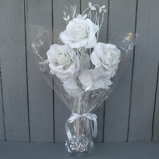 Artificial 58cm White/Silver Christmas Rose Flower Arrangement - Xmas Gift