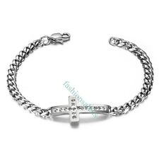 "7.5"" Classic Stainless Steel Cross Shape w/ Rhinestone Women's Bracelet Chain"