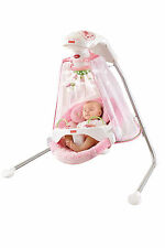 NewBorn Child Baby Nap Six Speeds Papasan Cradle Swing Butterfly Garden Pink New