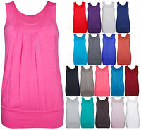 Womens New Plain Ruched Gathered Sleeveless Ladies Scoop Neck Vest T-Shirt Top