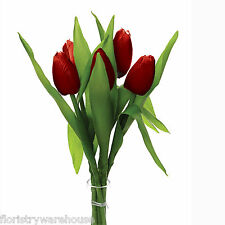 Artificial silk red Tulips spring flowers 6 stems 35cm (14 inch) tight flower