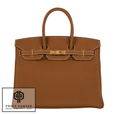GOLD CAMEL BROWN HERMES 35CM BIRKIN BAG TOGO LEATHER GOLD GHW 2015 BNIB