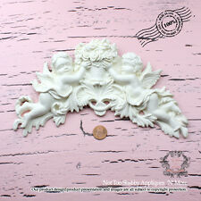 """Shabby Chic Furniture Appliques """"Shabby Cherubs Holding Floral Basket (Large)"""""""