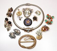 Lot Vtg & Mod Costume Jewelry Earrings Pins Pendants Cuff Links Weiss Kramer Etc