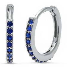 Round Hoop Blue Sapphire .925 Sterling Silver Earrings