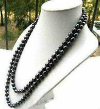 "NEW Natural 54"" 9-10MM Black Akoya Cultured Pearl Necklace"