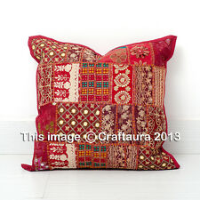"""Indian Pillowcase Patchwork Embroidered Handmade Throw Pillow Cushion Cover 16"""""""