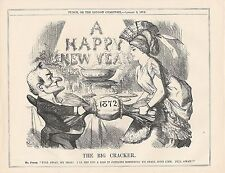 1872 Punch Cartoon Happy New Year Big Cracker