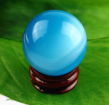 Beautiful Unique blue cat eye ball Display Decoration A3319