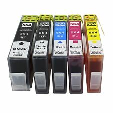5 Pk Ink Cartridges For HP 564XL Black/Color PhotoSmart 7510 7520 7525 Printer
