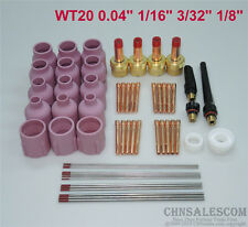 """60 pcs TIG Torch Large Gas Lens WP-17/18/26 WT20 Tungsten 0.04"""" 1/16"""" 3/32"""" 1/8"""""""