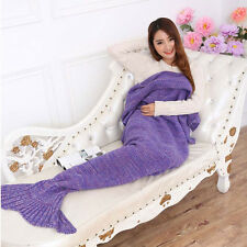 Mermaid Tail Blanket Warm and Soft Blankets For Kids And Adults Bedding Wrap US