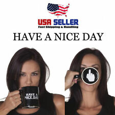 Ceramic Black Have A Nice Day Middle Finger Flip Off Coffee Mug Cup Prank Fun#