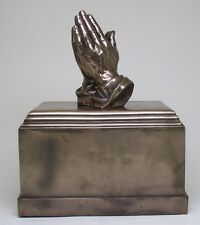 THE PRAYER HANDS STATUE URN BOX.HOLY CHRISTIAN CREMATION THEME.BEAUTIFUL DETAILS
