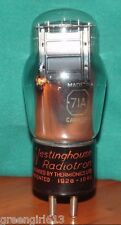 Westinghouse Canada #71A Vacuum Tube Very Strong    Results = 1900  µmhos  22mA