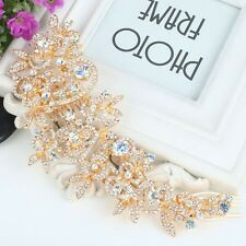 Bridesmaid Bridal Wedding Rose Gold Austrian Crystal Swiss Cut Diamond Hair Comb