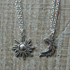 Silver Sun And Moon Necklaces, Pair Of Celestial Necklaces, Moon And Sun Pendant