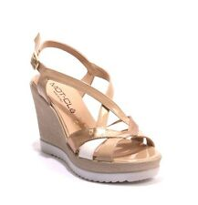 MOT-CLe 6417 Multi Color Leather / Patent Strappy Wedge Sandals 36 / US 6