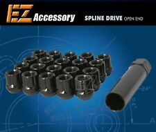 20 Pc Set Open End Spline Drive Lug Nuts | Black | 1/2"