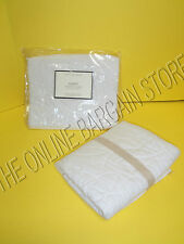 Pottery Barn Abby Quilted Patchwork Stitching Bed Pillow Sham Standard White
