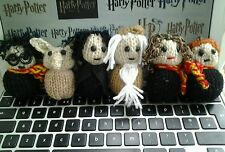 6 Harry Potter knitted figures Harry, Ron, Hermione, Dumbledore, Snape  & Dobby