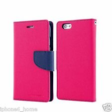 Genuine MERCURY Goospery Hot Pink Folio Case Wallet Cover For iPhone 5/5s & SE