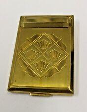 Vintage RICHARD HUDNUT Gold Compact Lipstick  Fleur de Lis Lid