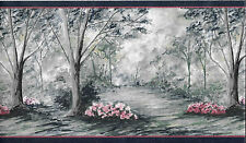 TREES, PINK FLOWERS WITH NAVY BLUE TRIM WALLPAPER BORDER
