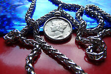 """American Antique Silver Mercury Dime Pendant  on a 20"""" Stainless Steel Chain"""