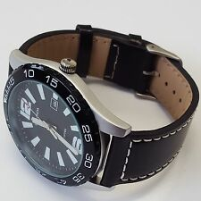 Sekonda Mens Black Dial Stainless Steel Case Luxury Leather Strap Watch 3251