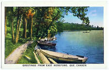 Greetings from East Hereford Quebec Canada Postcard Boats Lake